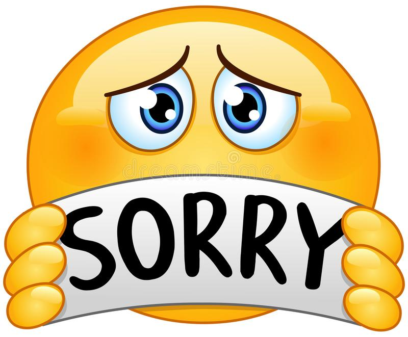 Emoticon with sorry sign. Sad apologizing emoticon holding a sign with the text sorry vector illustration