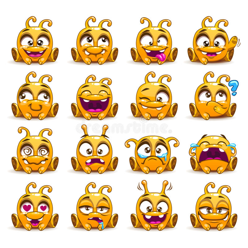 Emoticon stranieri gialli divertenti del carattere messi illustrazione vettoriale