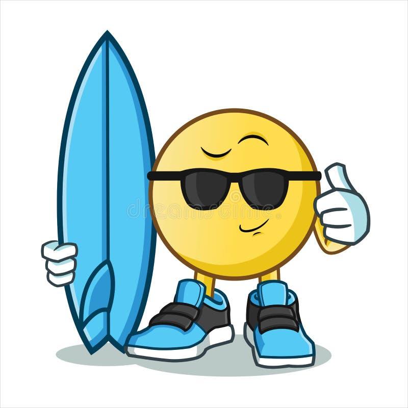 Emoticon surfingu kreskówki wektorowa ilustracja ilustracji