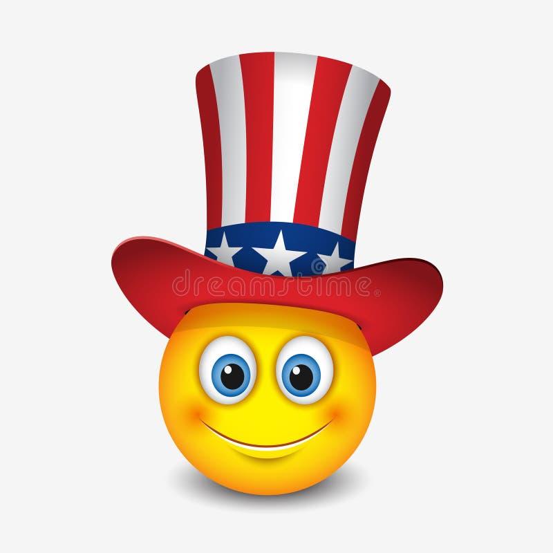 Emoticon sveglio con il cappello che simbolizzano la bandiera degli Stati Uniti d'America - smiley, emoji - vector l'illustrazion illustrazione di stock