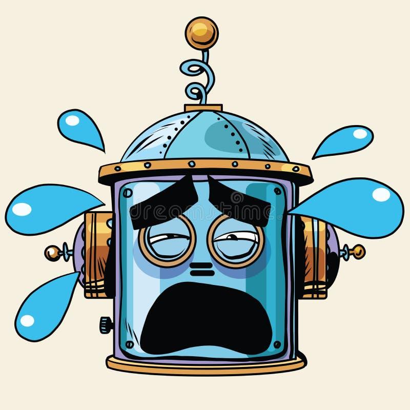 Emoticon tears emoji robot head smiley emotion vector illustration