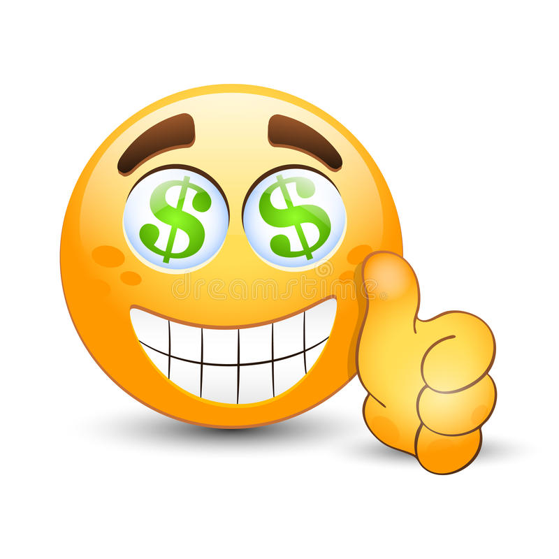 emoticon with thumb up and dollar sign in the eyes stock