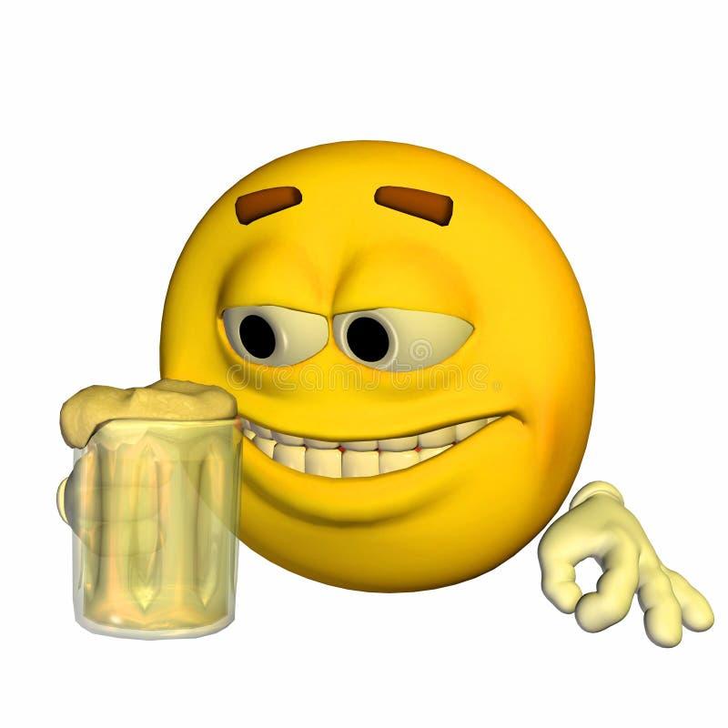 Emoticon - trinkendes Bier lizenzfreie abbildung