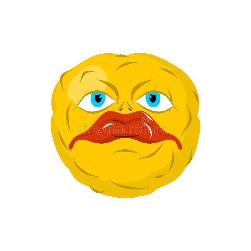 Emoticon triste Emoji loco Emoción triste Cabeza amarilla de la bola ilustración del vector