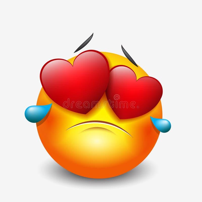 Emoticon triste gritador lindo en el amor, emoji, smiley - vector el ejemplo libre illustration