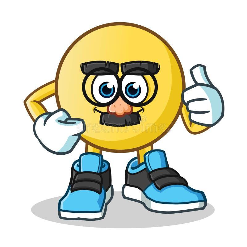 Emoticon twarzy maski śmiesznej maskotki kreskówki wektorowa ilustracja ilustracja wektor