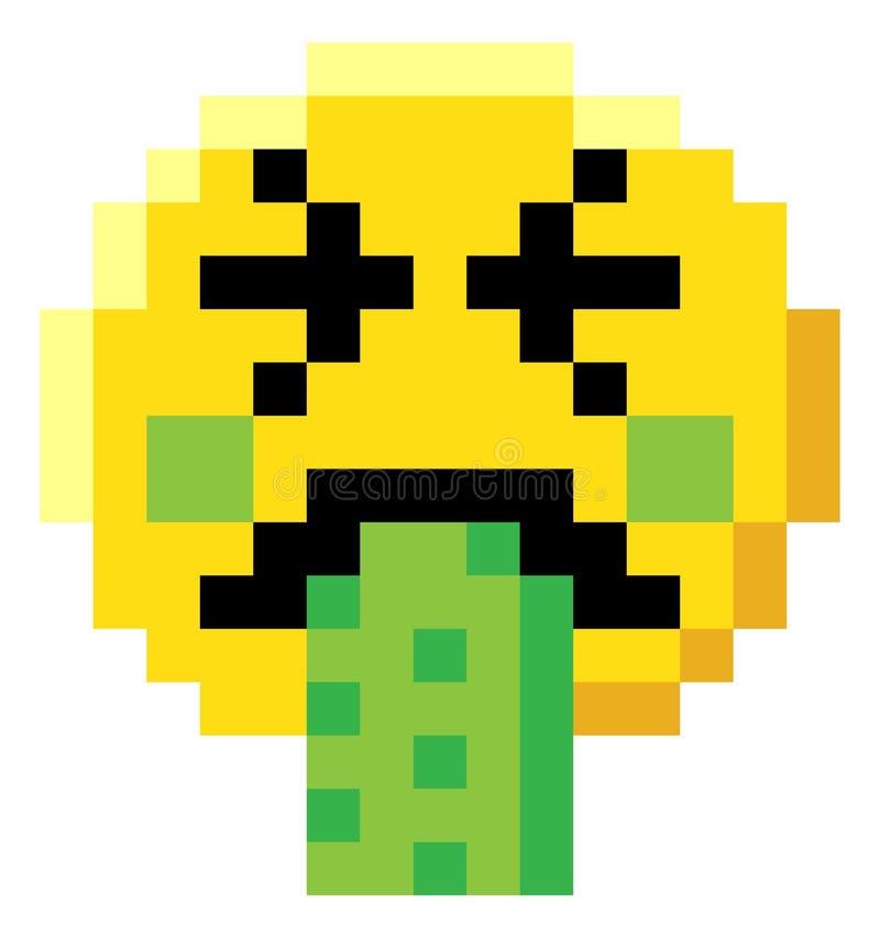 Emoticon twarzy piksla sztuki 8 kawałka gra wideo ikona royalty ilustracja