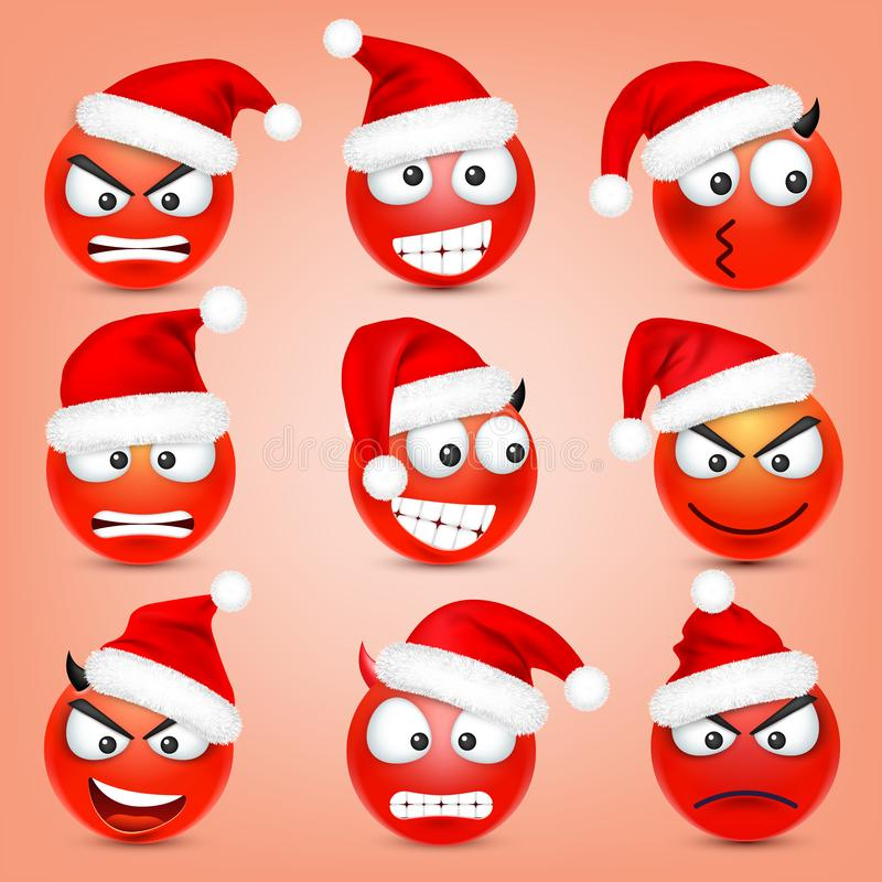 Emoticon vector set. Red face with emotions and Christmas hat. New Year, Santa. Winter emoji. Sad, happy, angry faces stock illustration
