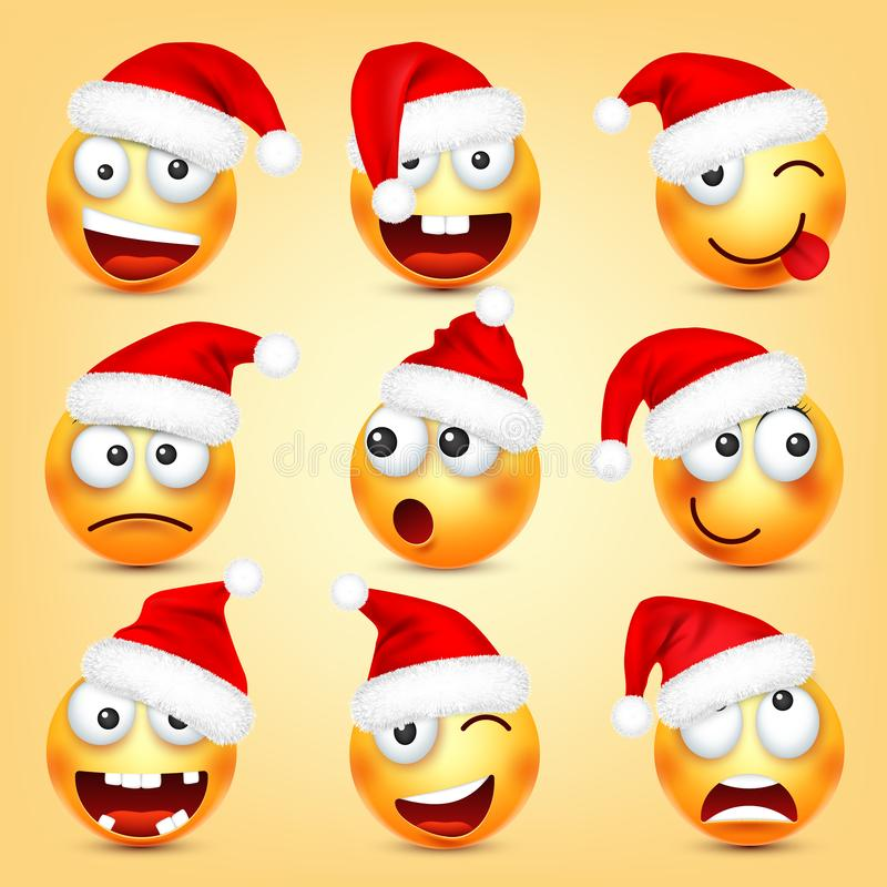 Emoticon vector set. Yellow face with emotions and Christmas hat. New Year, Santa. Winter emoji. Sad, happy, angry faces stock illustration
