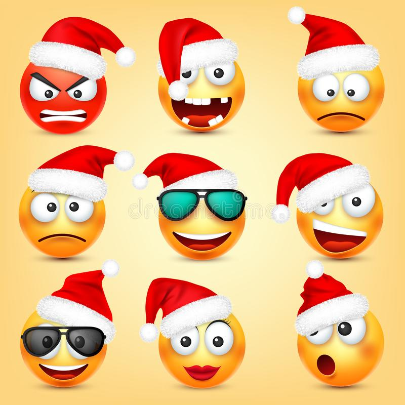 Emoticon vector set. Yellow face with emotions and Christmas hat. New Year, Santa. Winter emoji. Sad, happy, angry faces vector illustration