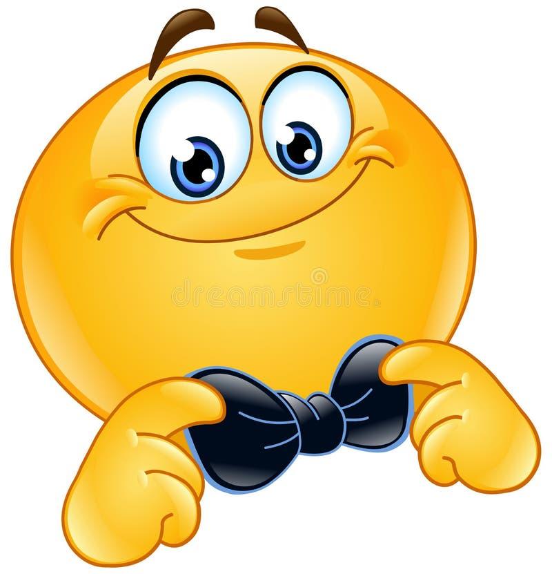 Emoticon z łęku krawatem ilustracja wektor
