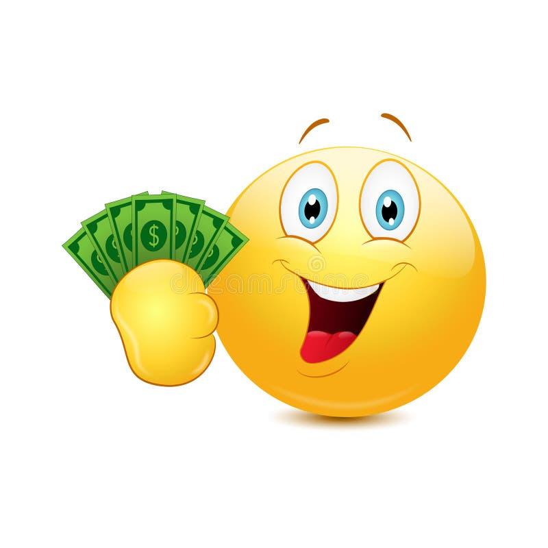 Emoticon z dolarami ilustracji