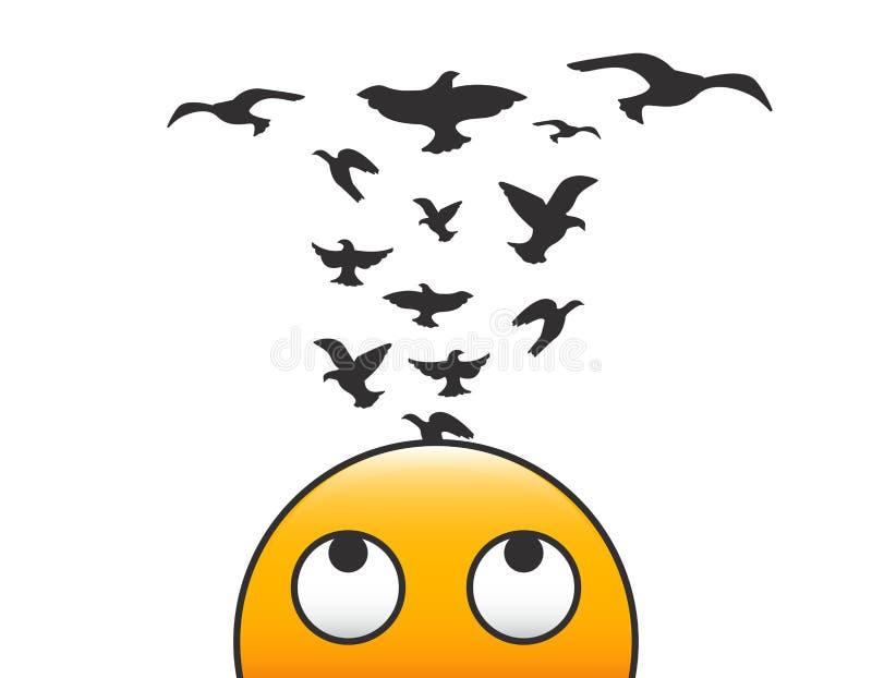 Emoticoncharakter mit den Vögeln, die von seinem Kopf fliegen Vector Illustrationskonzept für Kreativität, Freiheit des Verstande vektor abbildung