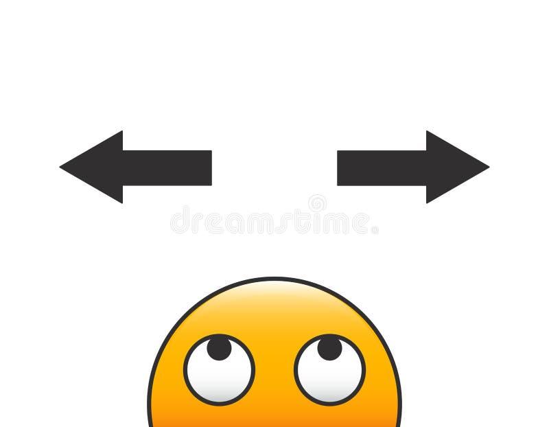 Emoticoncharakterkopf, der eine Entscheidung mit Pfeilen und Frage über seinem Kopf trifft Vektorillustration mit transparentem H stock abbildung