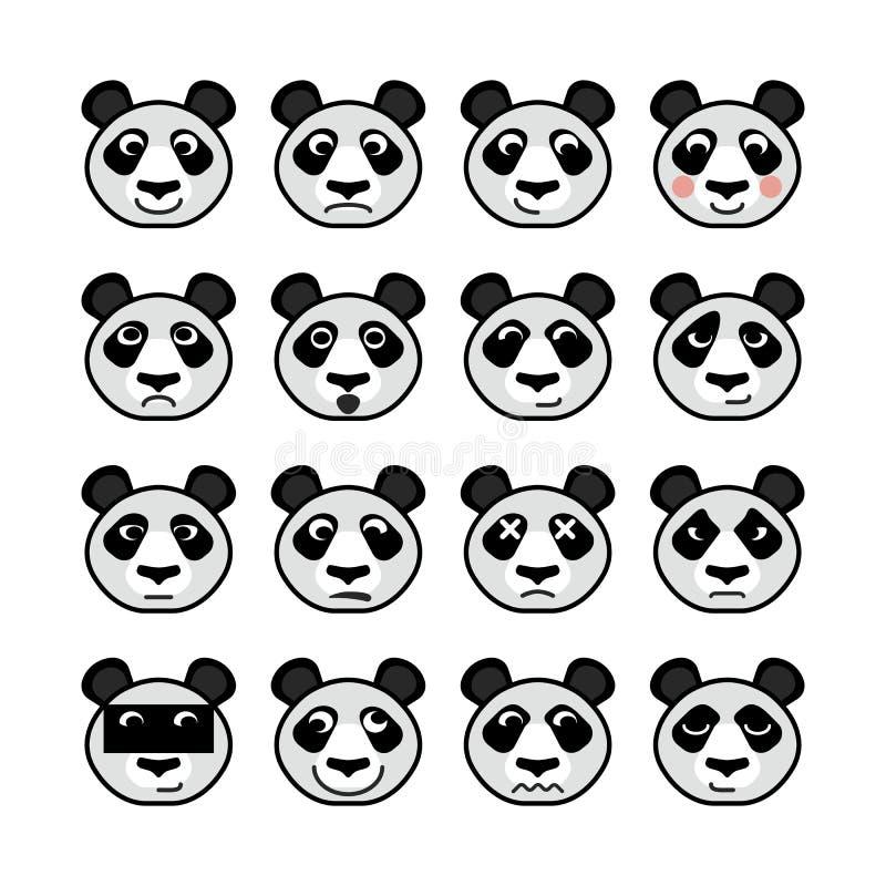 Emoticondjur Panda Set arkivbilder