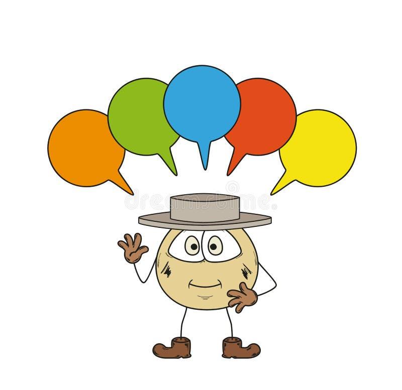 Emoticonen och talar bubblor stock illustrationer