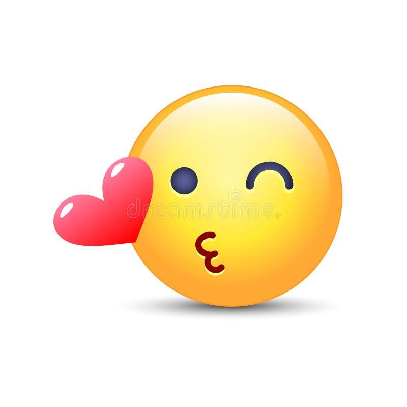 Emoticongesicht, das einen Kuss wirft Blinzeln von smiley mit einem Herzen Glückliches liebevolles emoji für Anwendungen und Chat stock abbildung