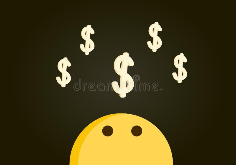Emoticonkarakter het hoofd ondertekent bekijken een stapel van dollar het vliegen boven zijn hoofd Vectorillustratie met een donk royalty-vrije illustratie