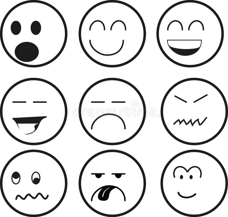 Image Sawamura Angry Png: Emoticonreeks In Zwart-wit Vector Illustratie. Illustratie