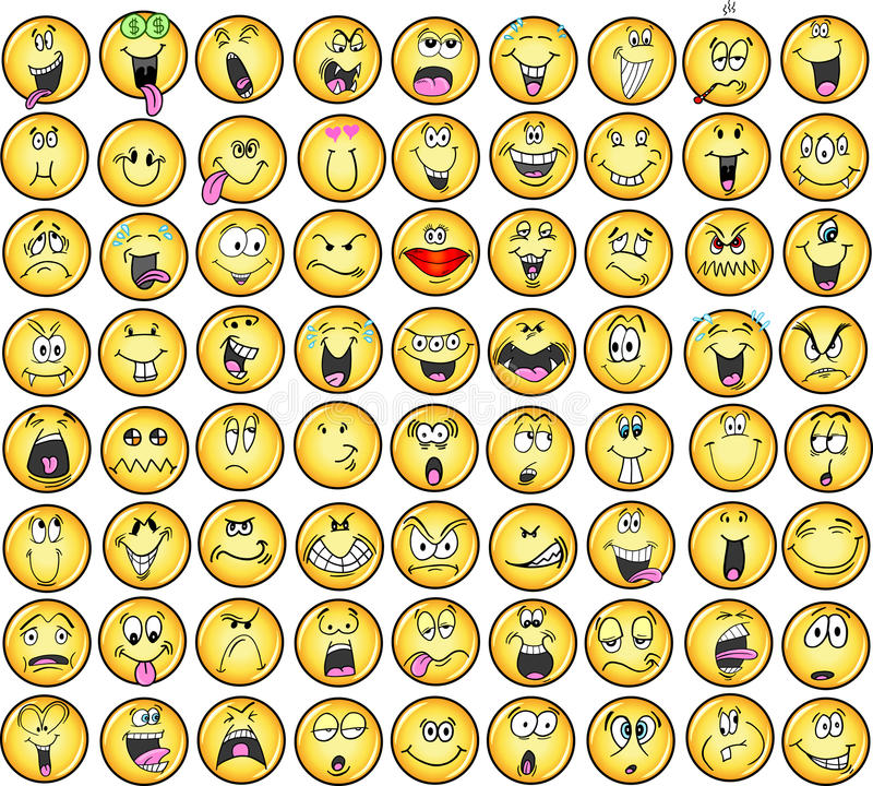 emoticons διάνυσμα εικονιδίων συγκίνησης διανυσματική απεικόνιση