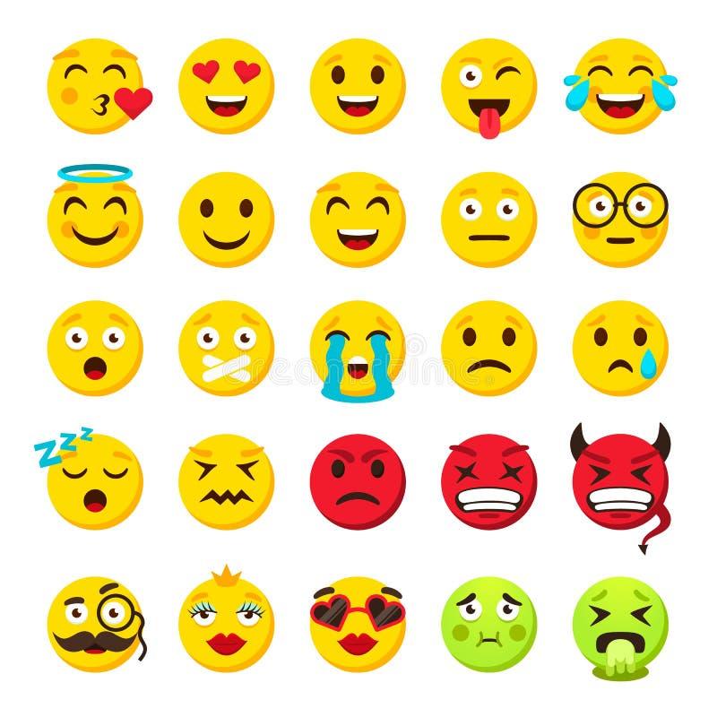 Emoticons ajustados Emoji enfrenta a coleção engraçada do vetor do sorriso do emoticon ilustração do vetor