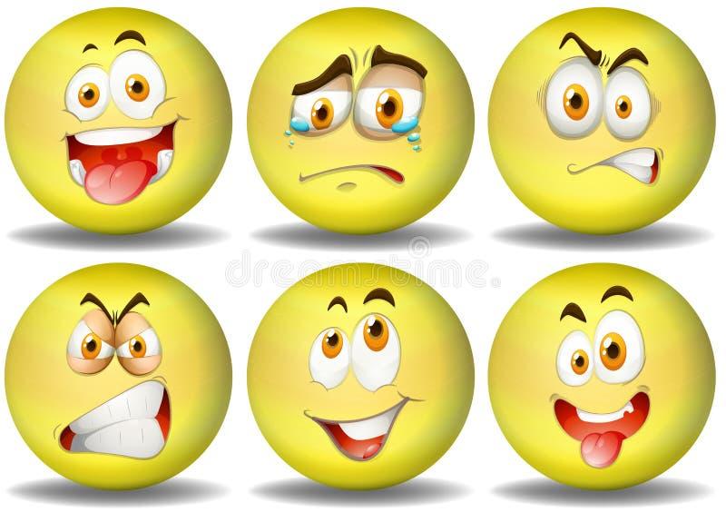 Emoticons amarelos das expressões da bola ilustração royalty free