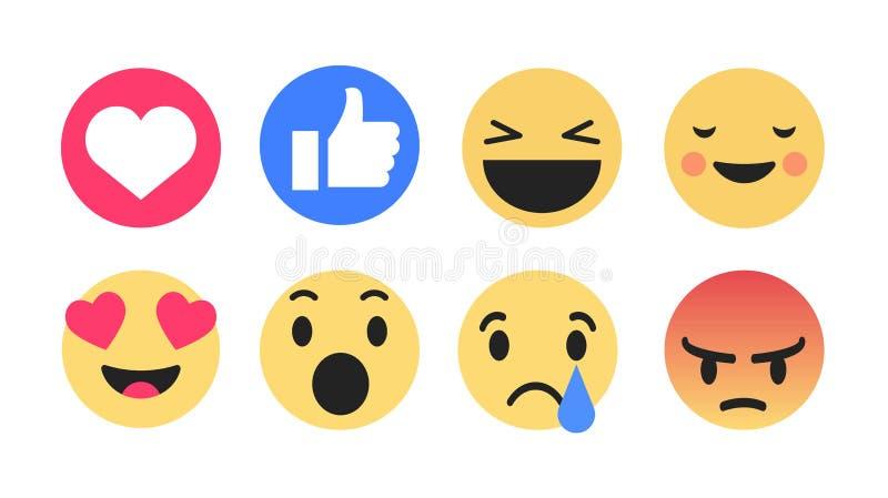 emoticons amarelos redondos para reações sociais do comentário do bate-papo dos meios, rasgo da bolha dos desenhos animados do ve ilustração stock