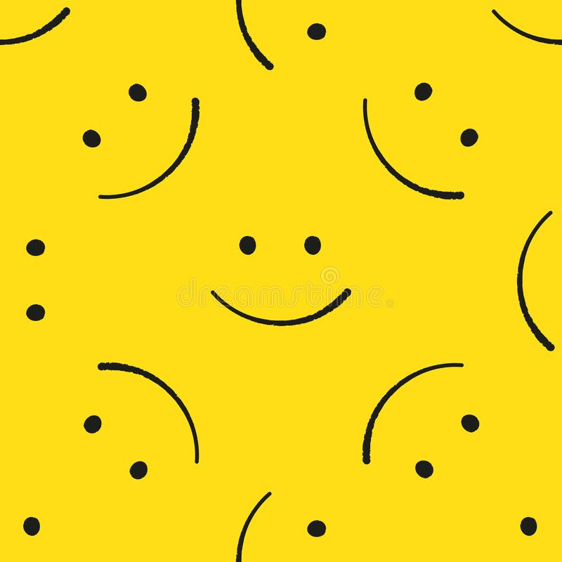Emoticons bezszwowy wzór Żółty emoji wektoru tło Uśmiech twarzy tekstury szablon Nowożytni smileys dla tkanin royalty ilustracja