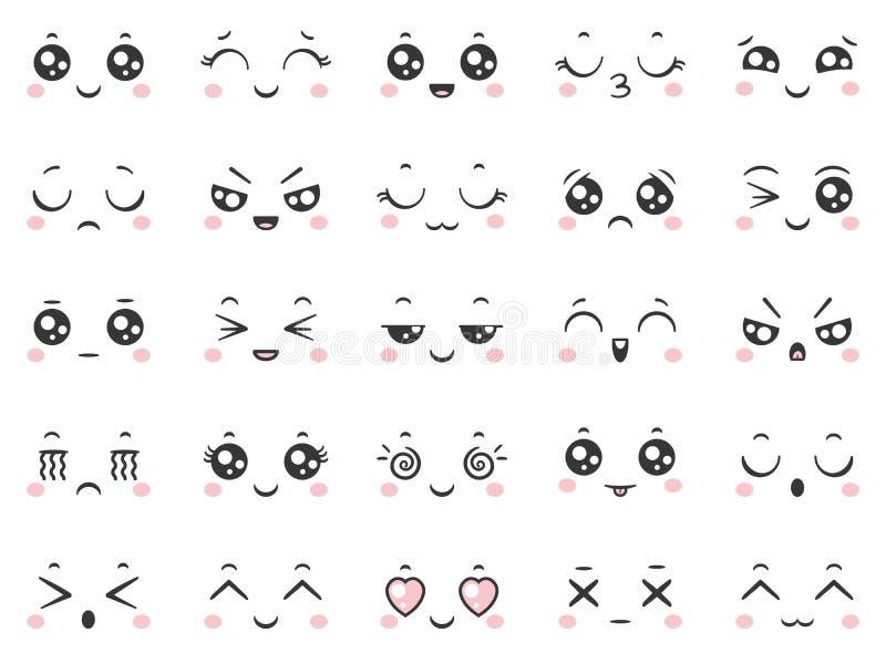 Emoticons bonitos da garatuja com expressões faciais Caras da emoção do estilo do anime e grupo japoneses do vetor dos ícones do  ilustração stock
