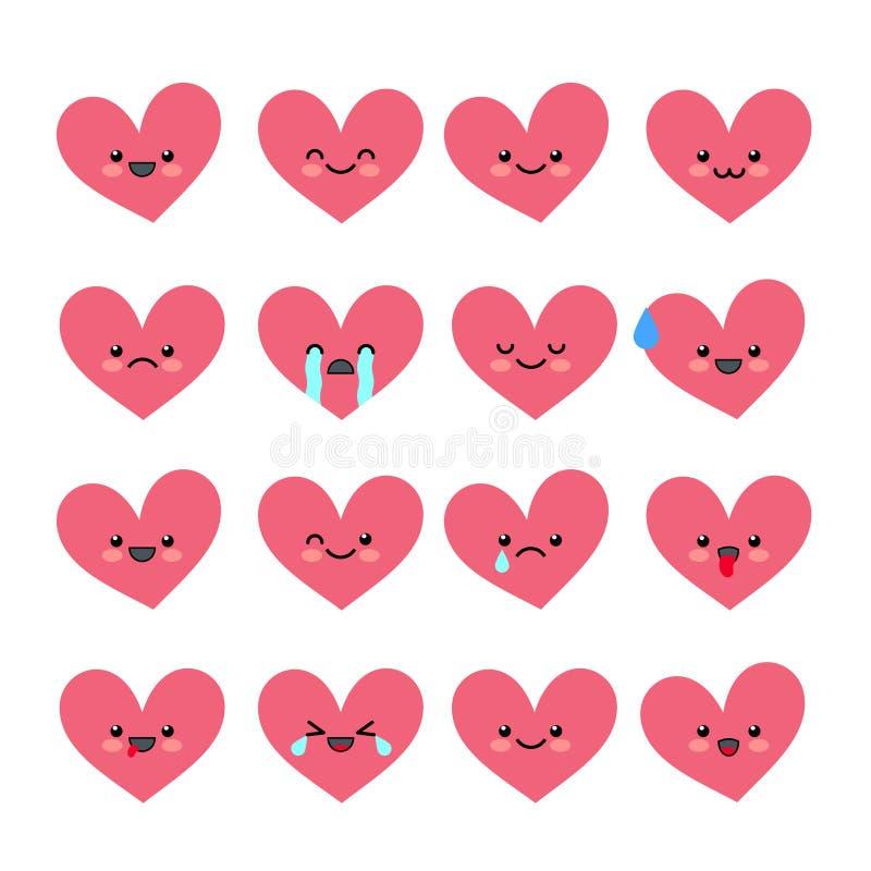 Emoticons bonitos do coração ajustados ilustração royalty free