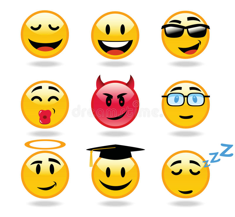 Emoticons charakteru ikony royalty ilustracja