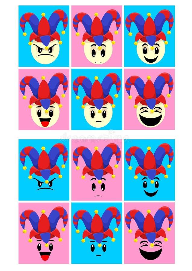 Emoticons coloridos del día de los tontos fijados ilustración del vector