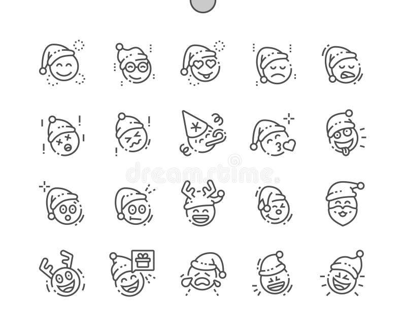 Emoticons con la línea fina Bien-hecha a mano tema rejilla 2x de los iconos 30 del vector perfecto del pixel de la Navidad para l stock de ilustración