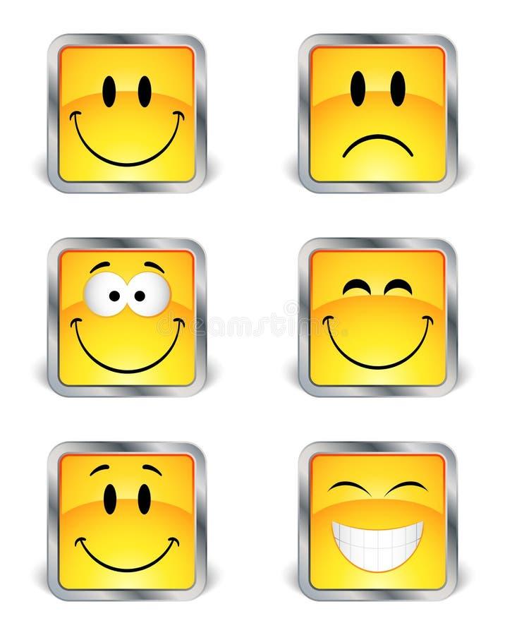 Emoticons cuadrados stock de ilustración