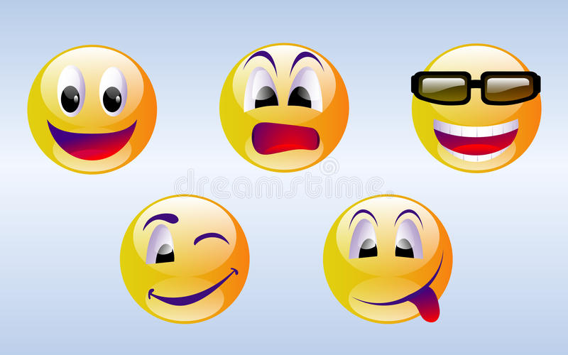 Emoticons da face do smiley ilustração royalty free