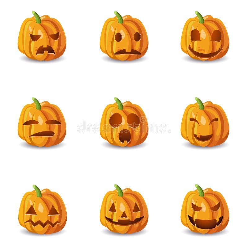 Emoticons de la calabaza de Halloween fijados stock de ilustración