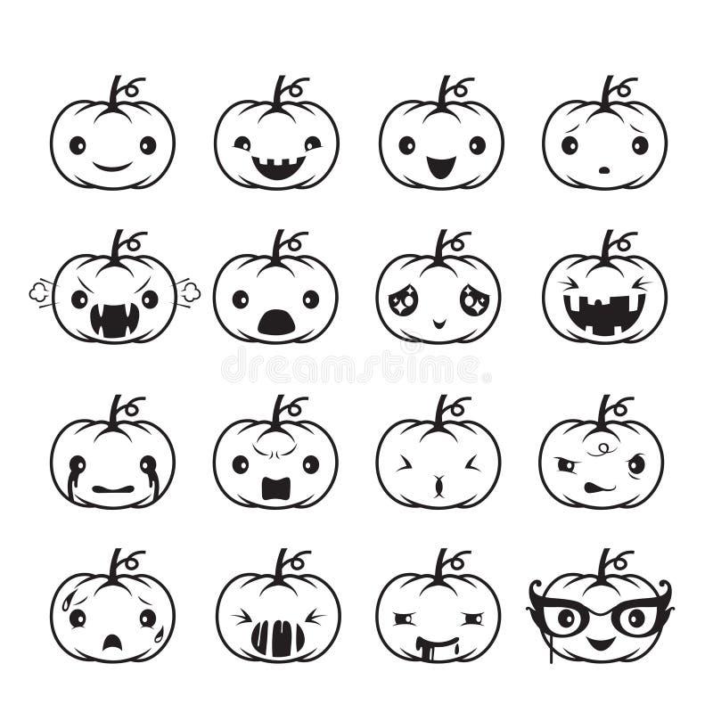 Emoticons de la calabaza fijados libre illustration