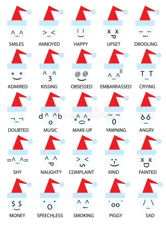 Emoticons de la Navidad sonrientes ilustración del vector