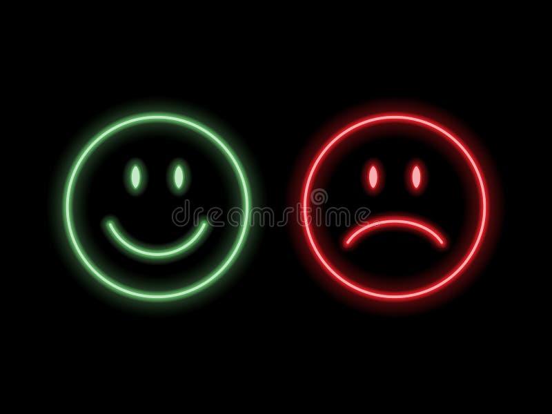 Emoticons de néon do sorriso ilustração royalty free