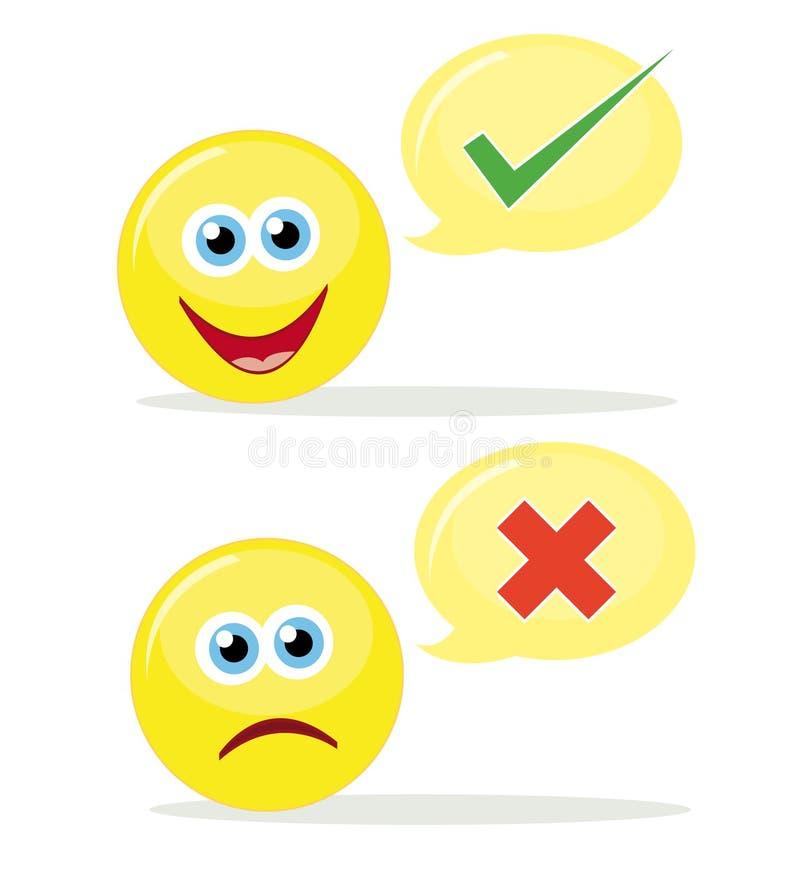 Emoticons de votación ilustración del vector
