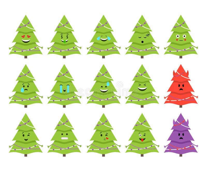 Emoticons del árbol de navidad Vector Aislado en blanco libre illustration