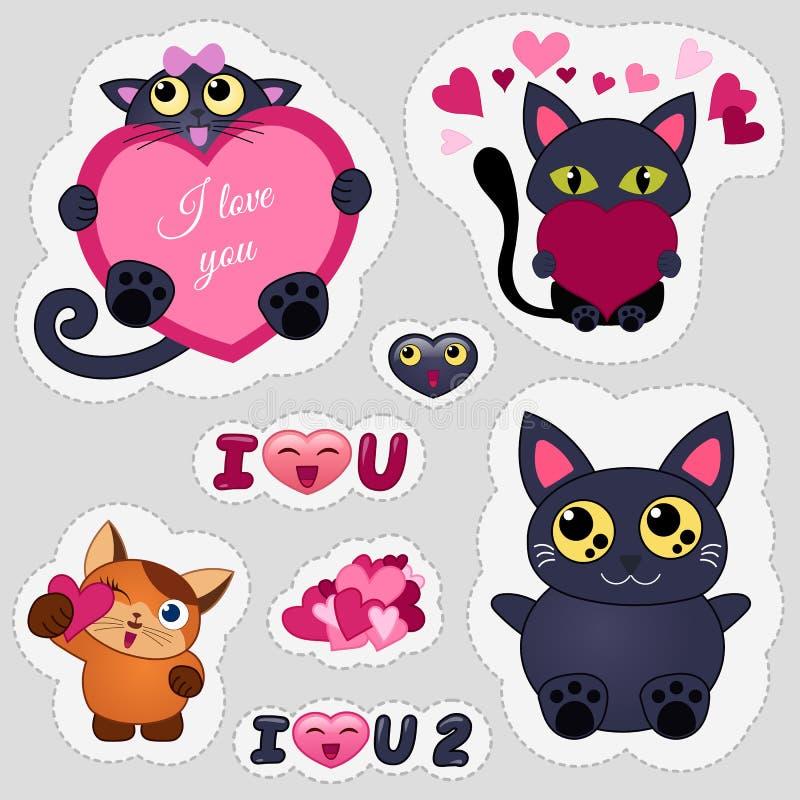 Emoticons del amor del día de WebValentine Gatos en los emoticons del amor para la página web y la aplicación móvil Ejemplo plano ilustración del vector