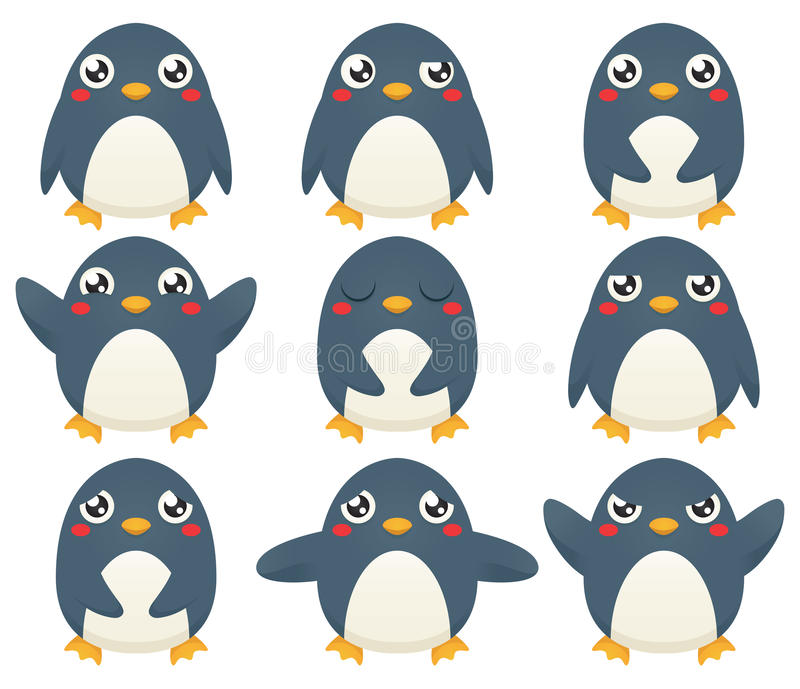 Emoticons del pingüino stock de ilustración