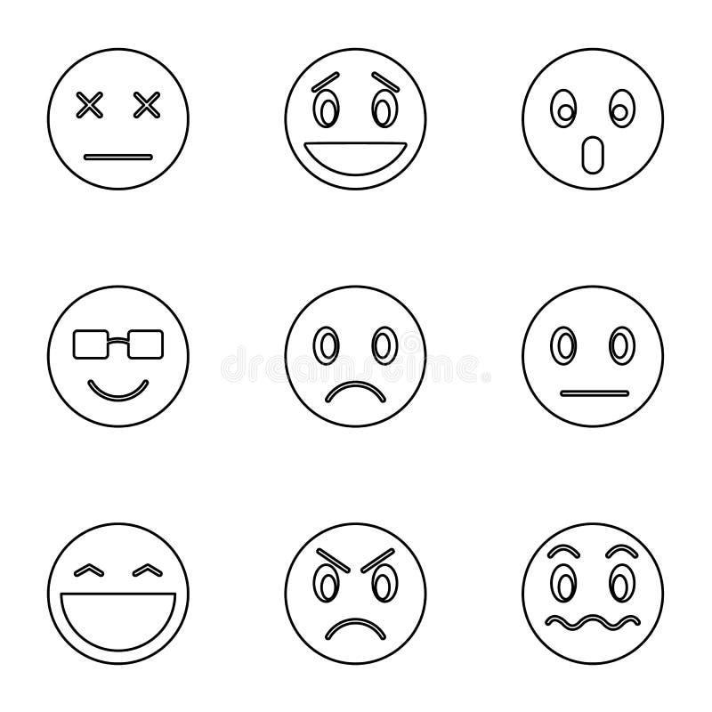 Emoticons dla gawędzić ikony ustawiać, konturu styl ilustracja wektor