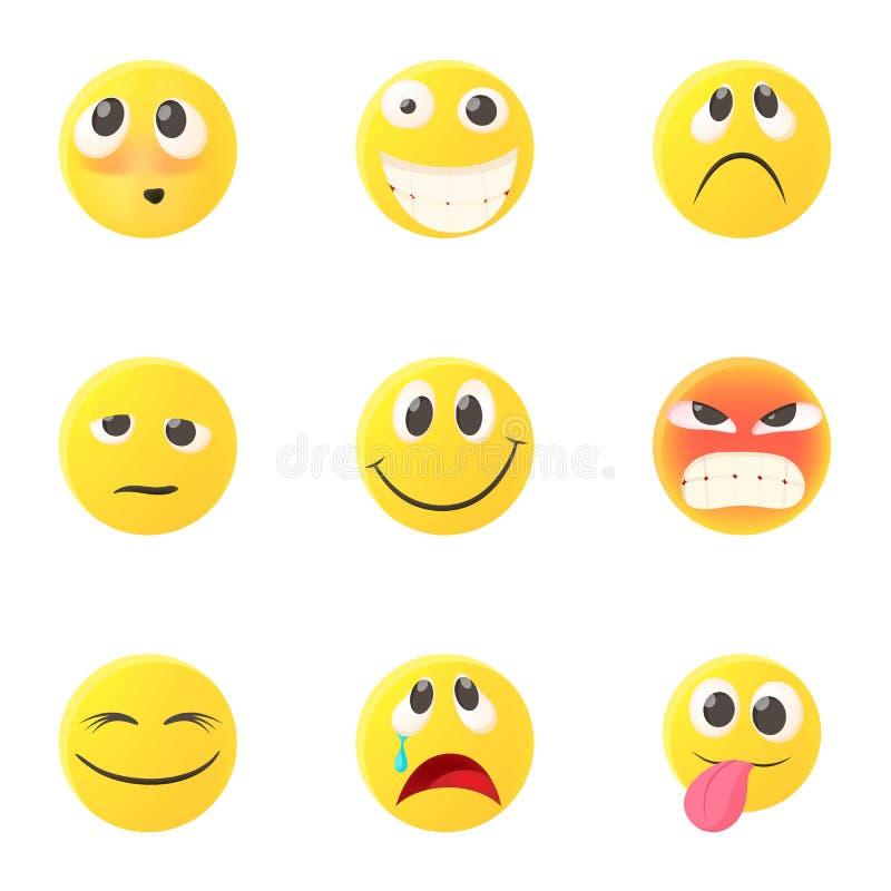 Emoticons dla gawędzić ikony ustawiać, kreskówka styl royalty ilustracja