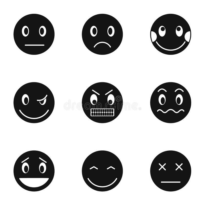 Emoticons dla gawędzić ikony ustawiają, prosty styl ilustracji