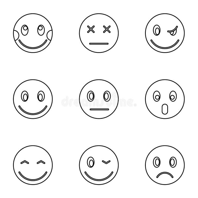 Emoticons dla wiadomości ikon ustawiać, konturu styl ilustracji