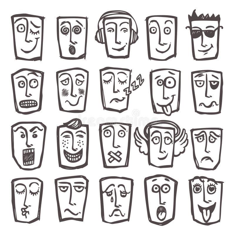 Emoticons do esboço ajustados ilustração royalty free