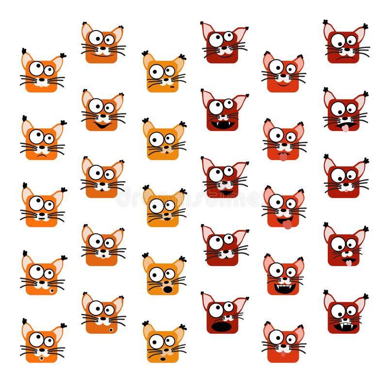 Emoticons do Fox ajustados ilustração do vetor