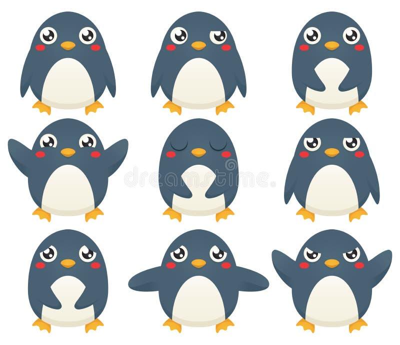 Emoticons do pinguim ilustração stock